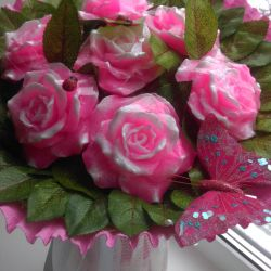 A bouquet of roses from soap