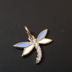 Gold pendant with dragonfly cubic zirconias