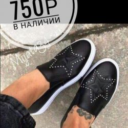Slip-ons, 37-38 size. New