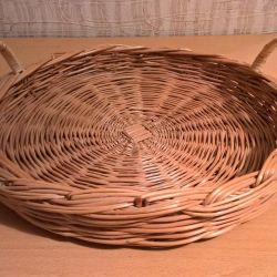 Wicker tray made of twigs with handles diameter 35cm