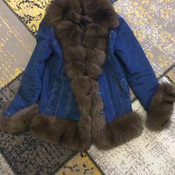 jacheta denim cu blană