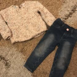 Knitted sweater and jeans Zara