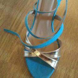 Sandalet, altın ile 39 soluk mavi