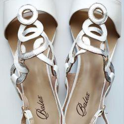 41 Balex Sandals White Leather