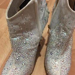 Αστράγαλο μπότες εορταστική με στρας