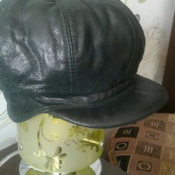 Cap leather female dark green size 57
