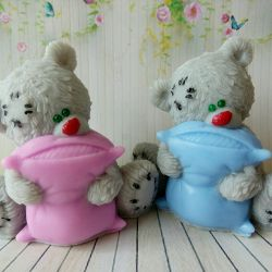 Soap Bear with a pillow