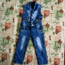 Denim semi-overalls for a girl