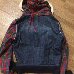 The windbreaker is demi-season, a bomber jacket