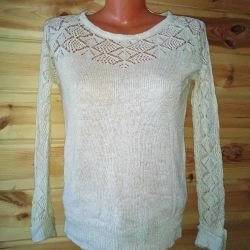 sweater size 40-44 top and lace-knit sleeves