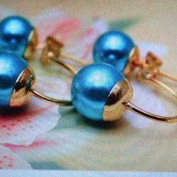 Elegante știfturi pe arc de perle albastru deschis