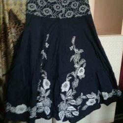 Brand flared print skirt