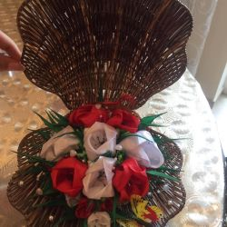 Home decor Flowers from ribbons