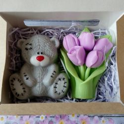 Soap set Bear with tulips