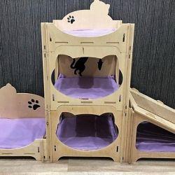 Kediler için büyük ev. Herhangi bir tasarım!