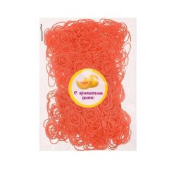 A set of elastic bands for hair, 200 pcs., The aroma of melon.