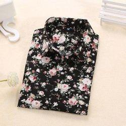 Женская рубашка в цветочек.(черная) размер s