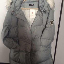 Kadın mavi ceket. Kış.