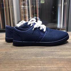 Мокасины синие ,белая шнуровка В 5
