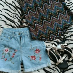 New shorts, top and sandals