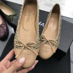 Bale ayakkabıları Chanel altın lüks