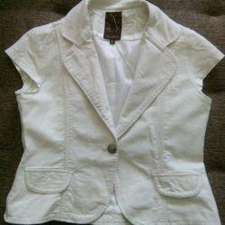 Beyaz pamuk / keten ceket