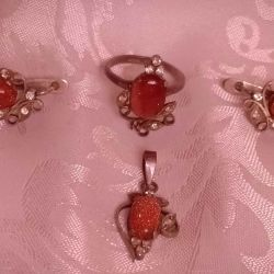 Set (earrings, ring, pendant)