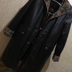 δερμάτινο παλτό με μόνωση