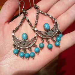 Earrings silver + turquoise