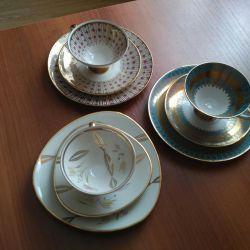 Vintage Porselen Çay Trios, Almanya