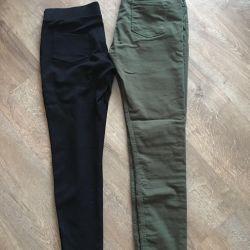 Pants 2 pairs khaki x / + black leggings