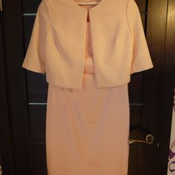 Dress peach color with a jacket