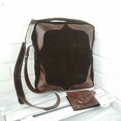 Men's bag made of genuine leather and suede