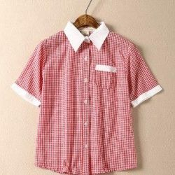 New shirt red in a cage with a collar h & m hm