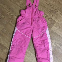 Kız için kışlık pantolon (yarı tulumlar)
