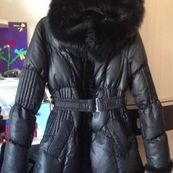 Down jacket with nat. fur