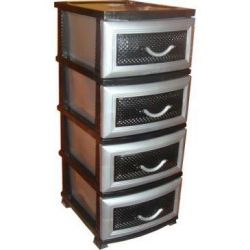 Chest of drawers black silver for boys