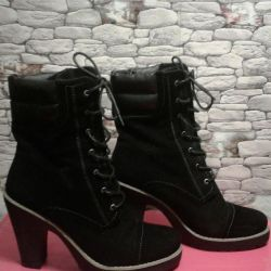 Semi-boots artificial suede