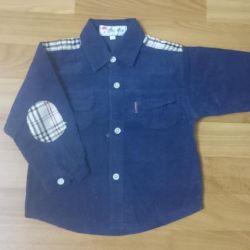 Рубашка вельвет рост 98