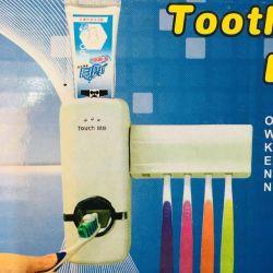 Brush holder and toothpaste dispenser New
