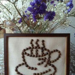 Картина из зерен кофе. Ручная работа