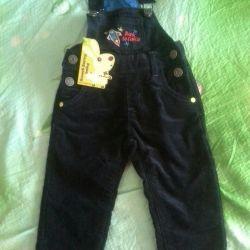 Velveteen overalls, 12-18 months