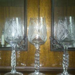 Crystal wine glasses.