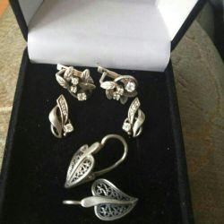 Cercei, inele de argint