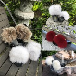Slippers with natural fur