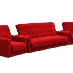 Σετ μαλακό επίπλων Milan κόκκινο καναπέ + 2 καρέκλες