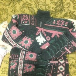 Μάλλινο διπλό πλεκτό πουλόβερ BENOMI