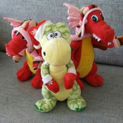 New Talking dragons, soft toys.