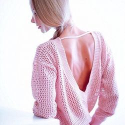 Cotton sweater openwork. Open back
