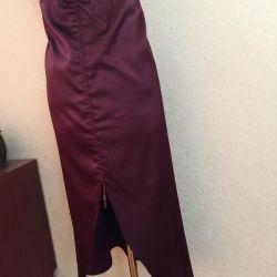 Satin burgundy skirt